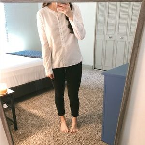 Long sleeved White polka dotted top